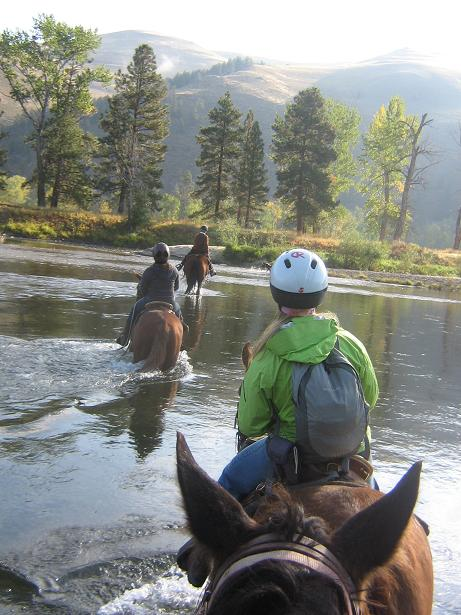 The author (in green) guides her horse across the Bitterroot River.