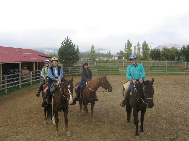 The group warms up their horses at Dunrovin Ranch.