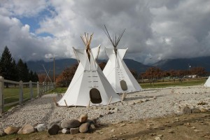 A display of a Salish encampment at St. Mary Mission in Stevensville.