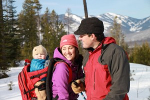 Beautiful family skiing at Glacier Outdoor Center