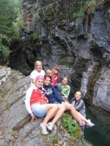 Hiking to the falls with the girls.