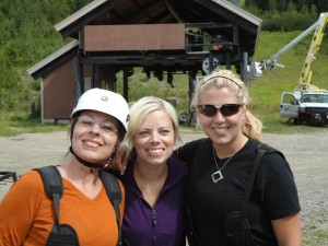 Happy girls after conquering the zip lines