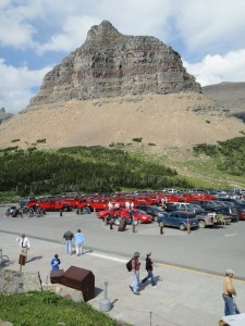 Logan Pass & a sea of red buses