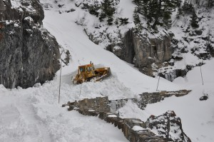 The initial cut through the slide path on April 16, 2013.  Photo: Glacier National Park Flickr site