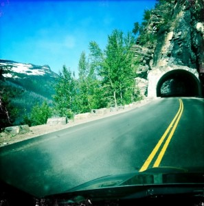 Cruising the famous road in Glacier National Park.