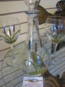 Hand-painted (and dishwater safe) wine decanter and glasses.
