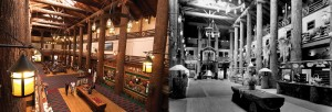 The lobby of Glacier Park Lodge, now and then.