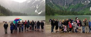 Due to rain and various hiking speeds, we took our annual family photo at Avalanche Lake in groups.