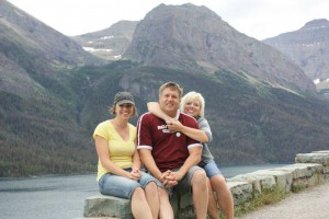 Re-enacting a photo with our dad from one of our earliest trips to Glacier National Park.