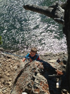 The next day, we ventured back into the mountains for some rock climbing. This little guy made it up the rock face TWICE.