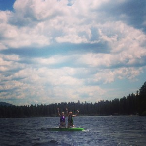 Placid Lake is the perfect lake for tubing with your baby sister.