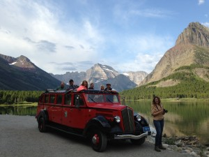 Greeting the day with a red bus tour in Glacier National Park.