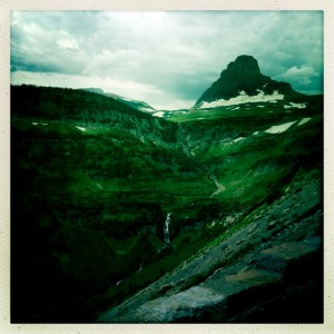 The view toward Logan Pass from the Going-to-the-Sun Road.