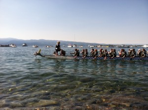 A team makes their way onto the course on Flathead Lake.