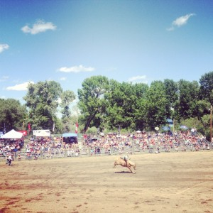 Taking in a small town rodeo.