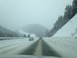Riding shotgun as we cruised over Lookout Pass two weeks ago.