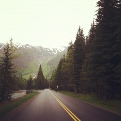 Biking the Going-to-the-Sun Road in Glacier National Park.