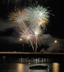 Fireworks over Flathead Lake in Polson.  Photo: Michael Hewston