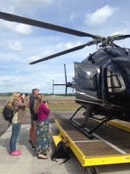 Admiring our black stallion of a helicopter.