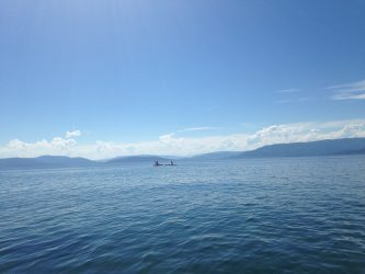 Kayaking on the immense (and super clean) waters of Flathead Lake.