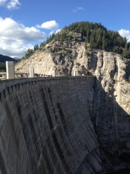 The rock solid dam holds 99,000 acre feet of water. Side note: one acre foot of water is 325,851 gallons.