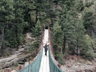For adrenaline-pumping fun, we took a stroll out onto the swinging bridge over Kootenai Falls.