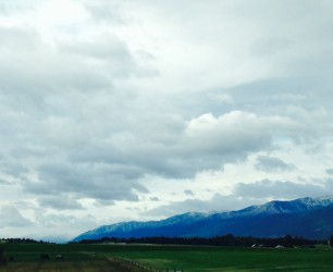 Fresh snow perfectly dusted the tops of the Tobacco Mountains.